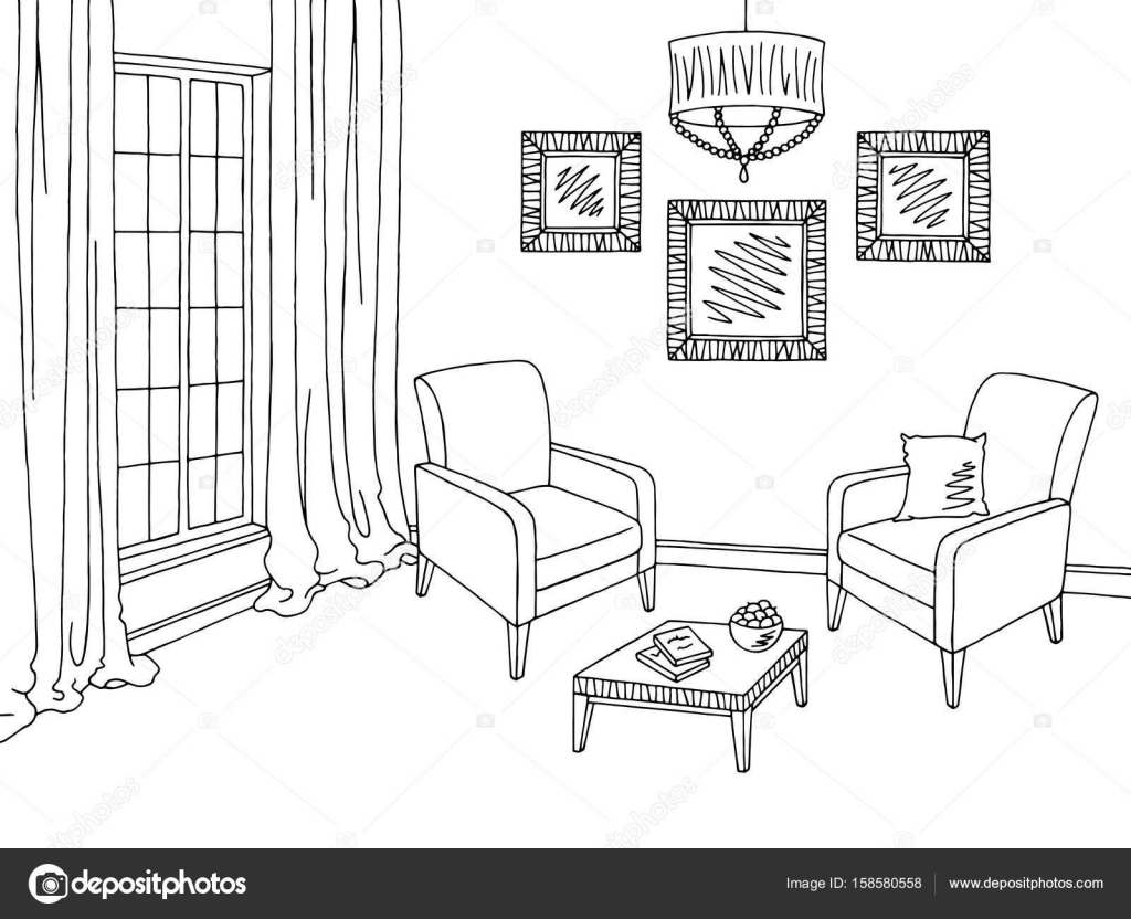 Wohnzimmer Cartoon Living Room Graphic Black White Interior Sketch