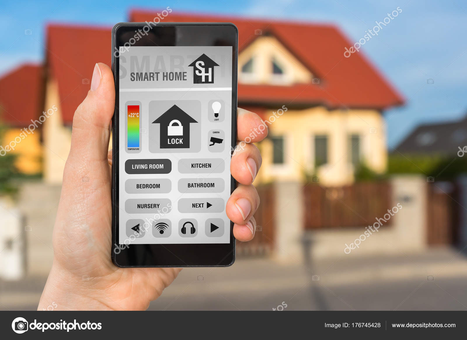 Smart Home Fernbedienung Smartphone Mit Fernbedienung Smart Home System Stockfoto