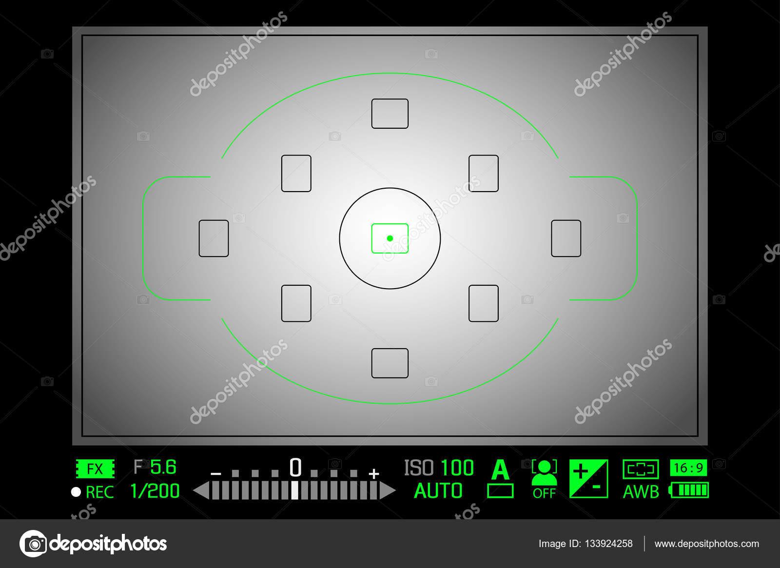 Modern digital DSLR camera focusing screen with settings White