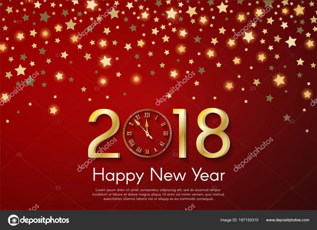 Conceito de ano novo 2018 dourado sobre fundo vermelho starfall