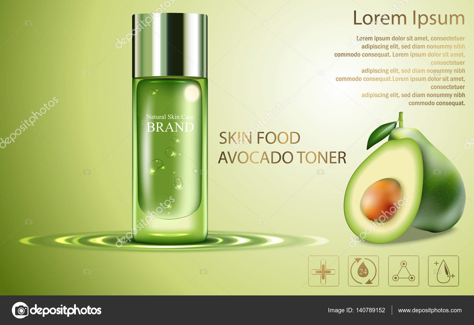 Beauty cosmetic product poster, fruit avocado cream ads with silver - product poster