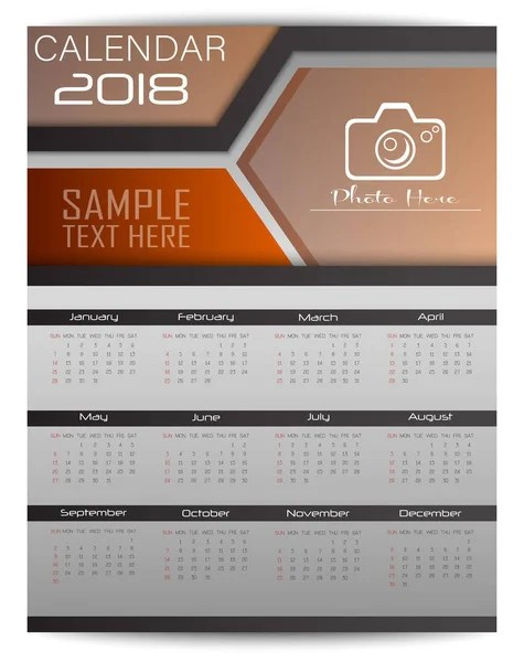 Vector Illustration Wall Calendar 2018 Year Design Template Week - calendar sample design