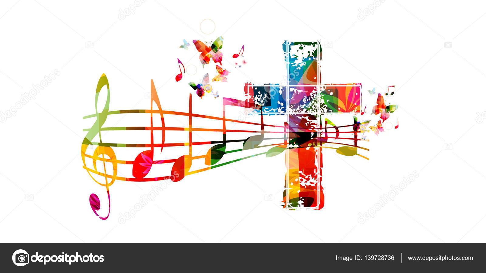 Jesus Live Wallpaper 3d Colorful Christian Cross With Music Stock Vector