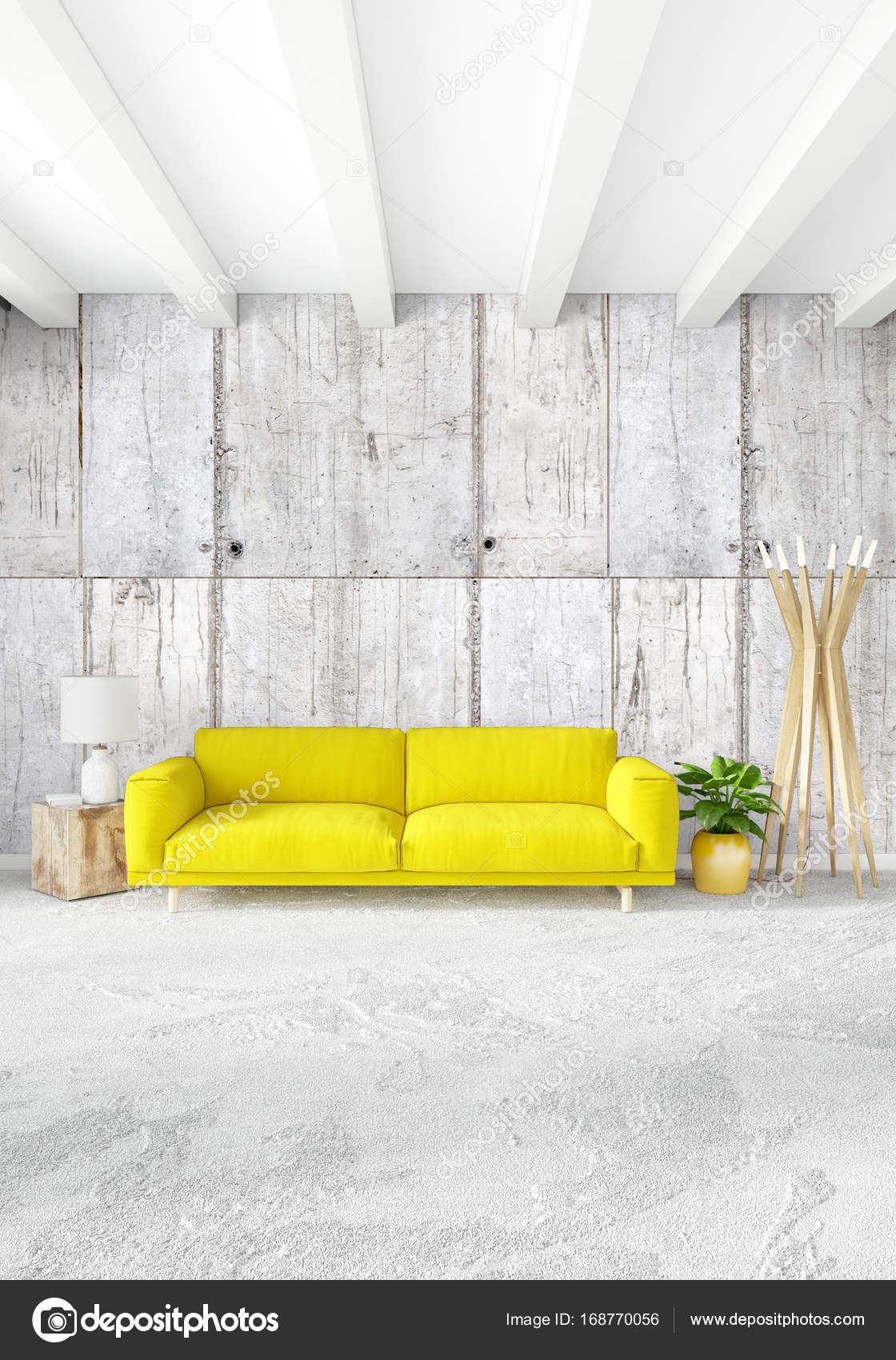 Schlafzimmer Modern Style Yellow Bedroom Or Livingroom In Modern Style Interior Design With