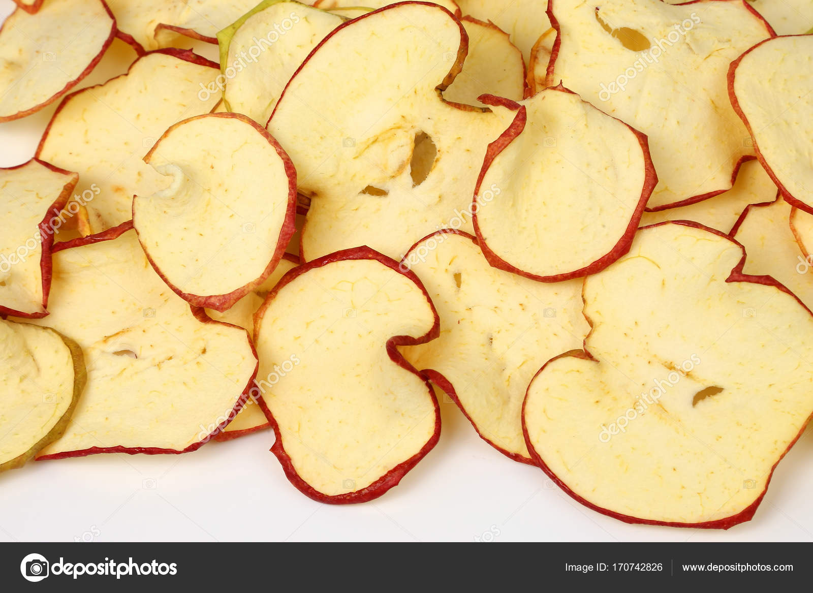 Gedroogde Appels Dried Apple Slices Closeup On White Background Stock