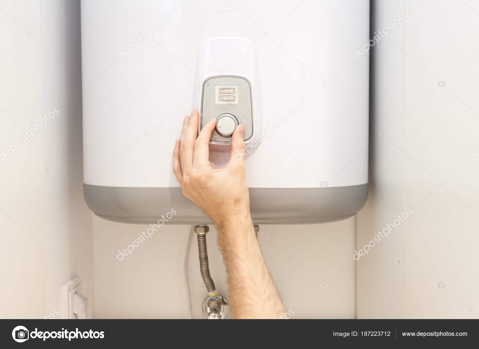 Closein Boiler Close Man Hands Setting Temperature Water Electric Boiler Stock