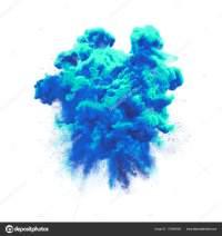 Paint powder blue color explosion particle dust cloud ...