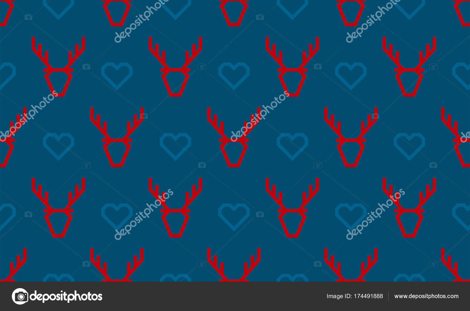 Christmas pattern background of seamless deer reindeer and heart