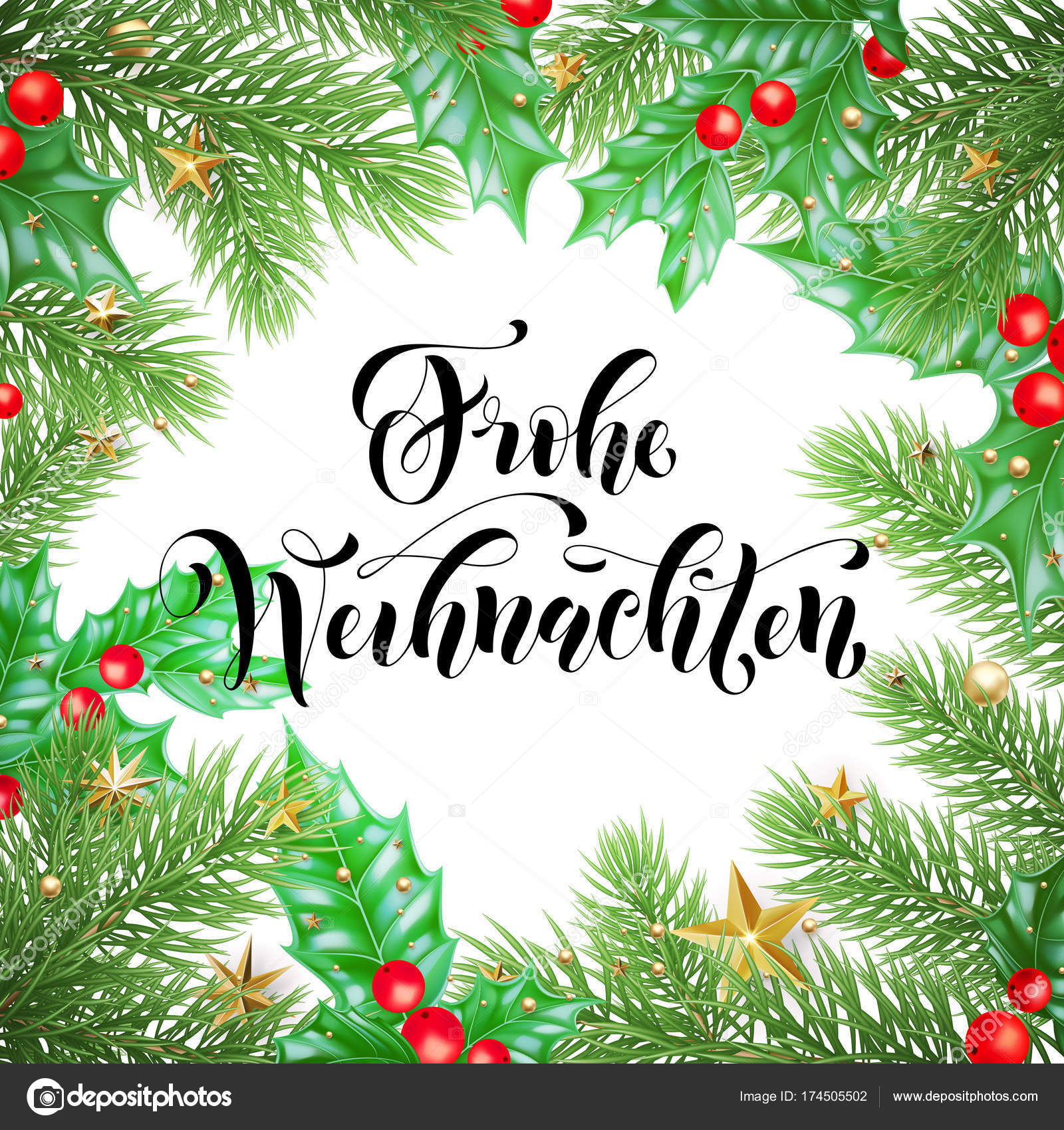 Design Weihnachten Frohe Weihnachten German Merry Christmas Hand Drawn Quote