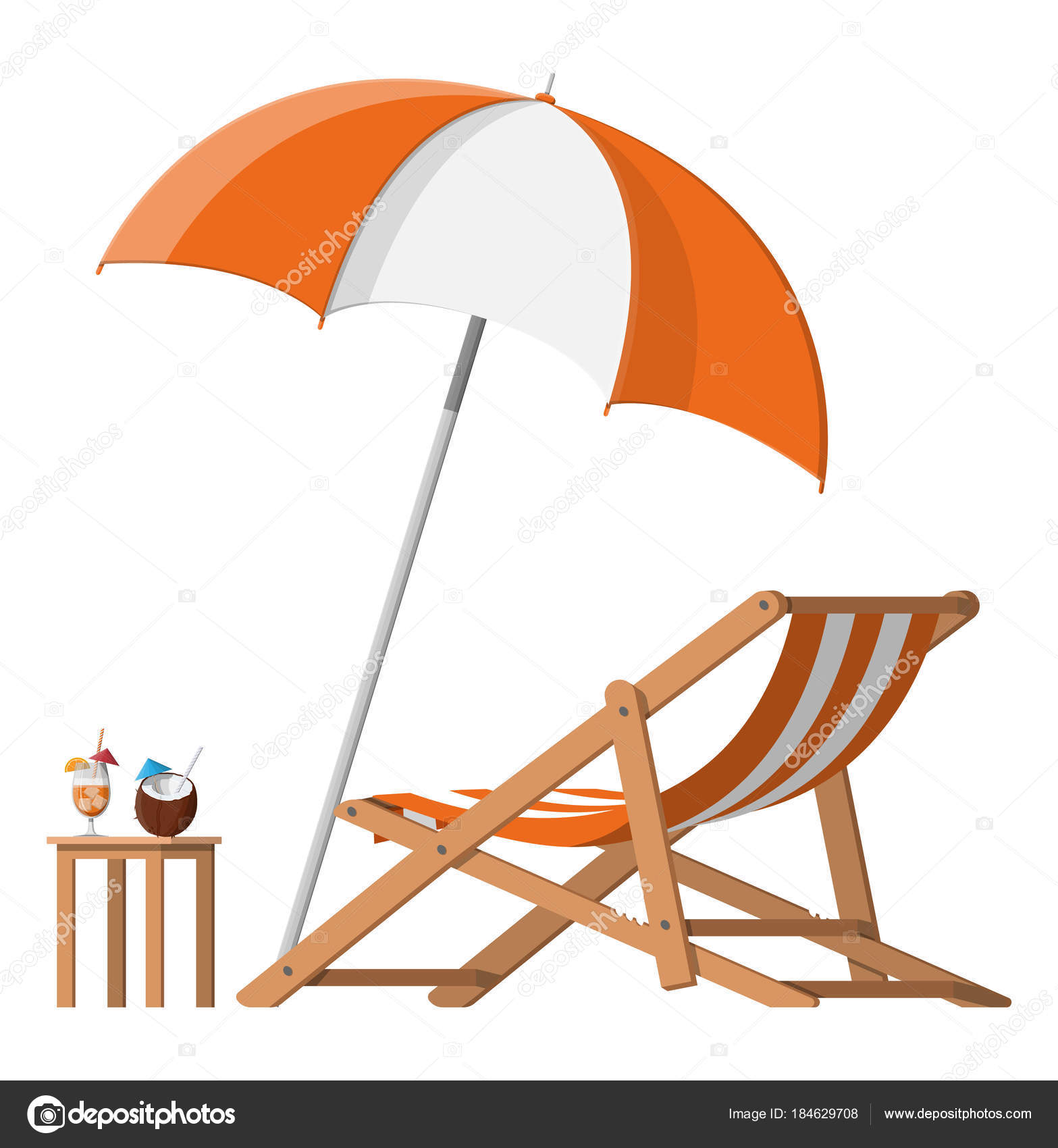 Chaise Cocktail Wooden Chaise Lounge Umbrella Cocktail Stock Vector Abscent