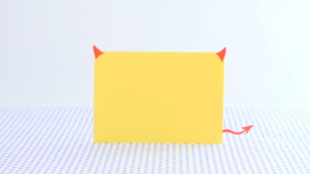 Yellow Paper Template Form Devil Horns Tail Stand Dotted Background