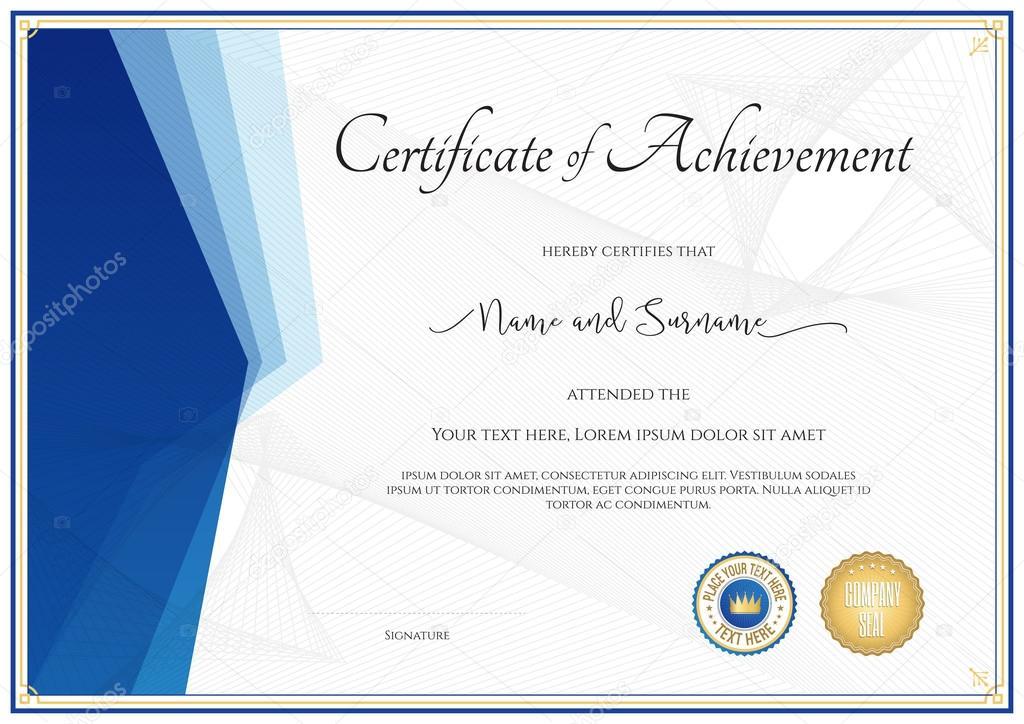 Modelo de certificado moderno para realização, valorização