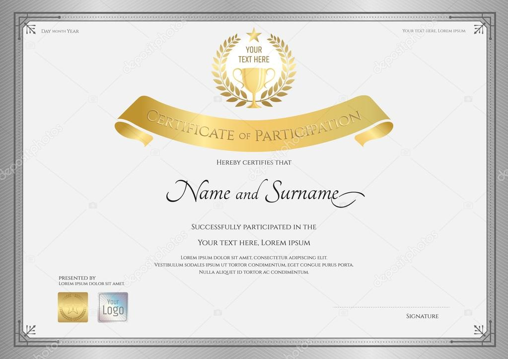 Certificate of participation template in silver border with golden