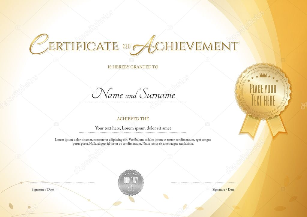 Certificate of achievement template with environment theme in gold