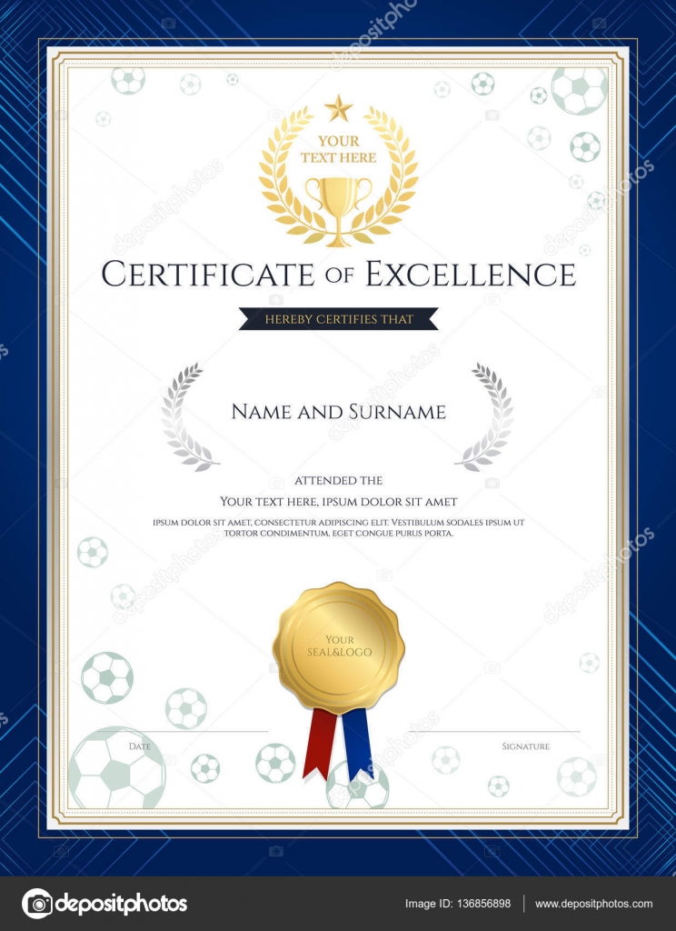 Portrait certificate of excellence template in sport theme for - football certificate template