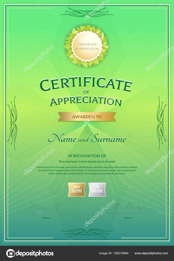Portrait certificate of appreciation template with award ribbon on - certificate of appreciation template