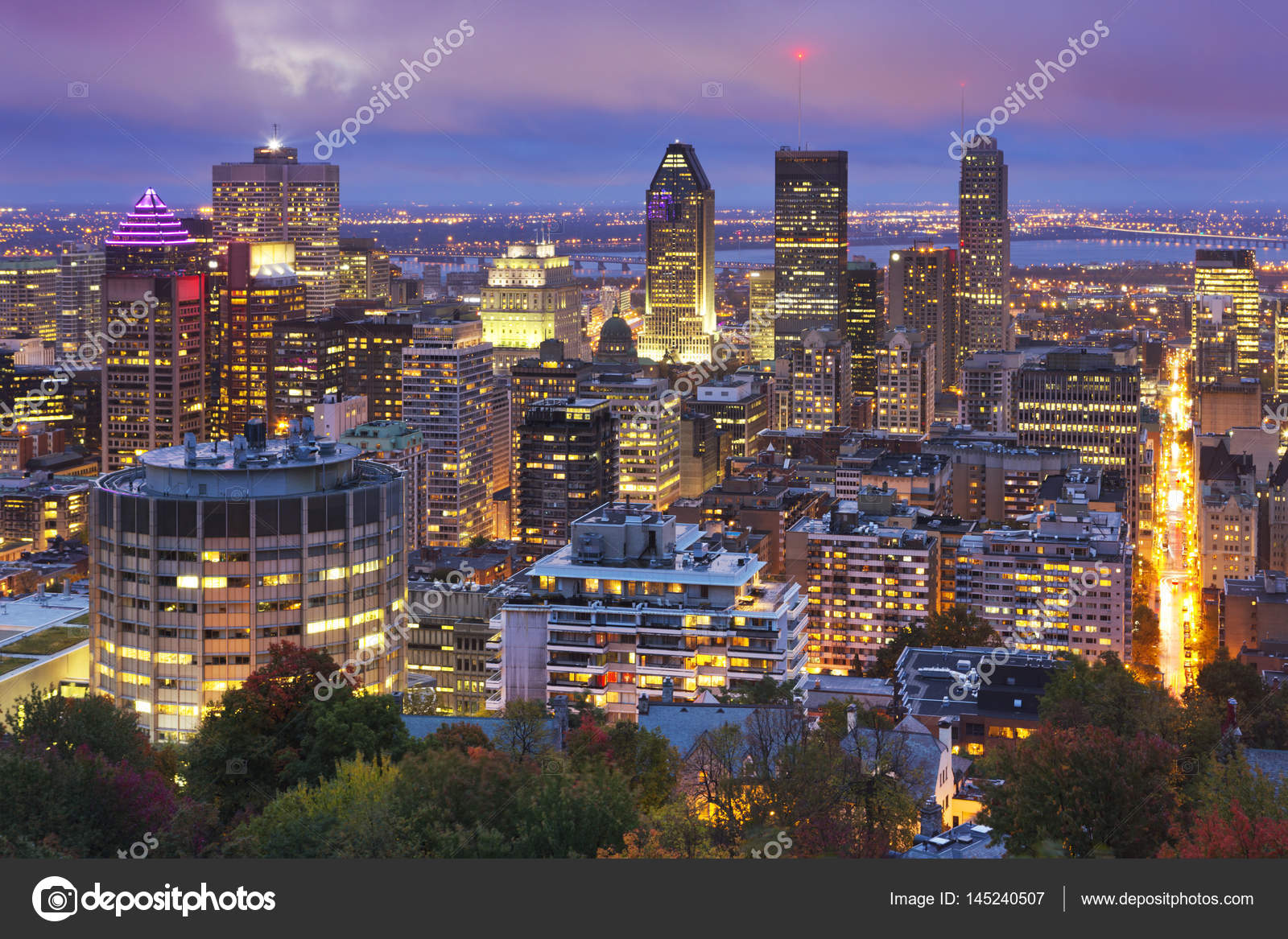 Quebec Montreal Skyline Of Montreal Quebec Canada From Mount Royal At Night