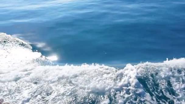Beautiful deep blue Mediterranean Sea water Ocean waves Cruise