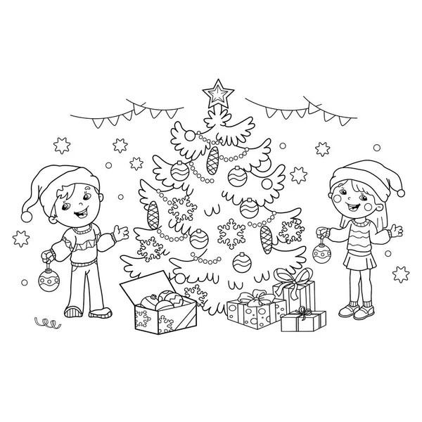 Colorir página contorno de crianças decoram a árvore de Natal com
