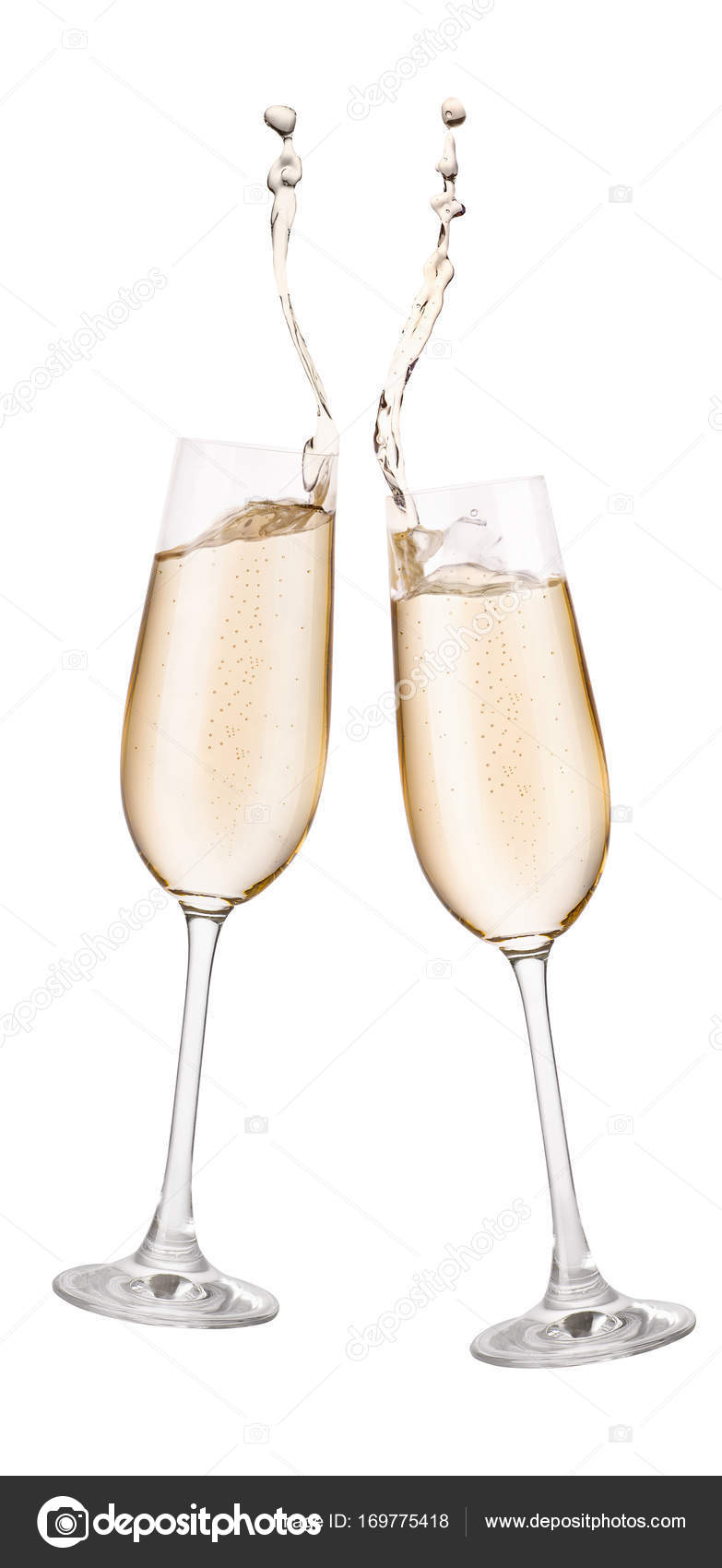Bicchieri Long Drink Two Glasses Of Champagne With Splash Stock Photo Alterphoto