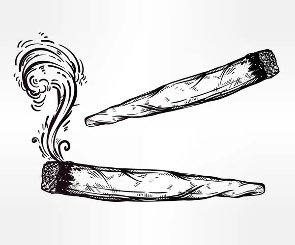 Two Kinds Of Weed Joint Or Spliff Drawings. — Stock Vector