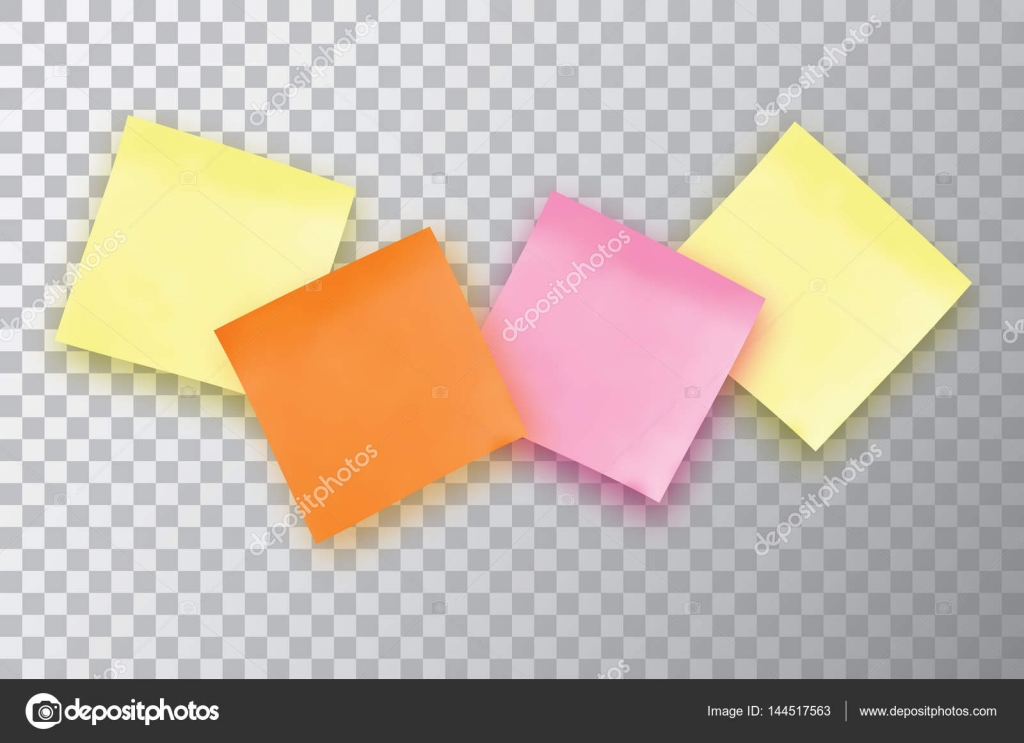 Four Colorful sticky note Template for your projects \u2014 Stock