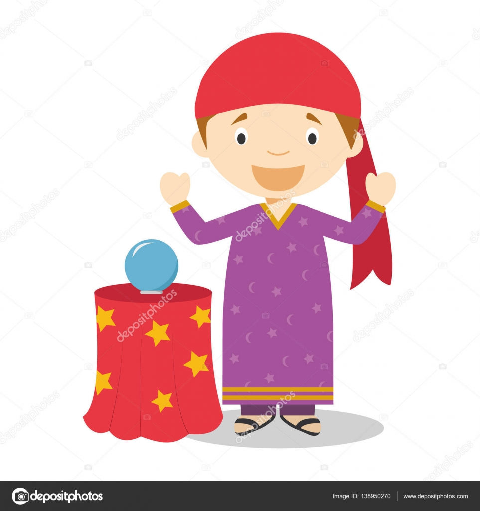 Baby Teller Cute Cartoon Vector Illustration Of A Fortune Teller Stock