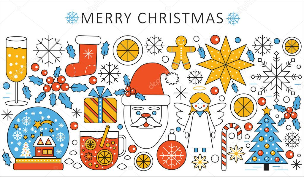 Vector elegant color flat line Christmas and Happy New Year concept
