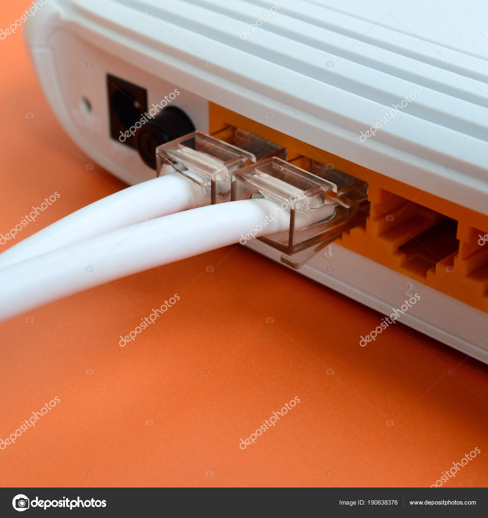 Orange Connexion Internet Internet Cable Plugs Connected Internet Router Which Lies Bright