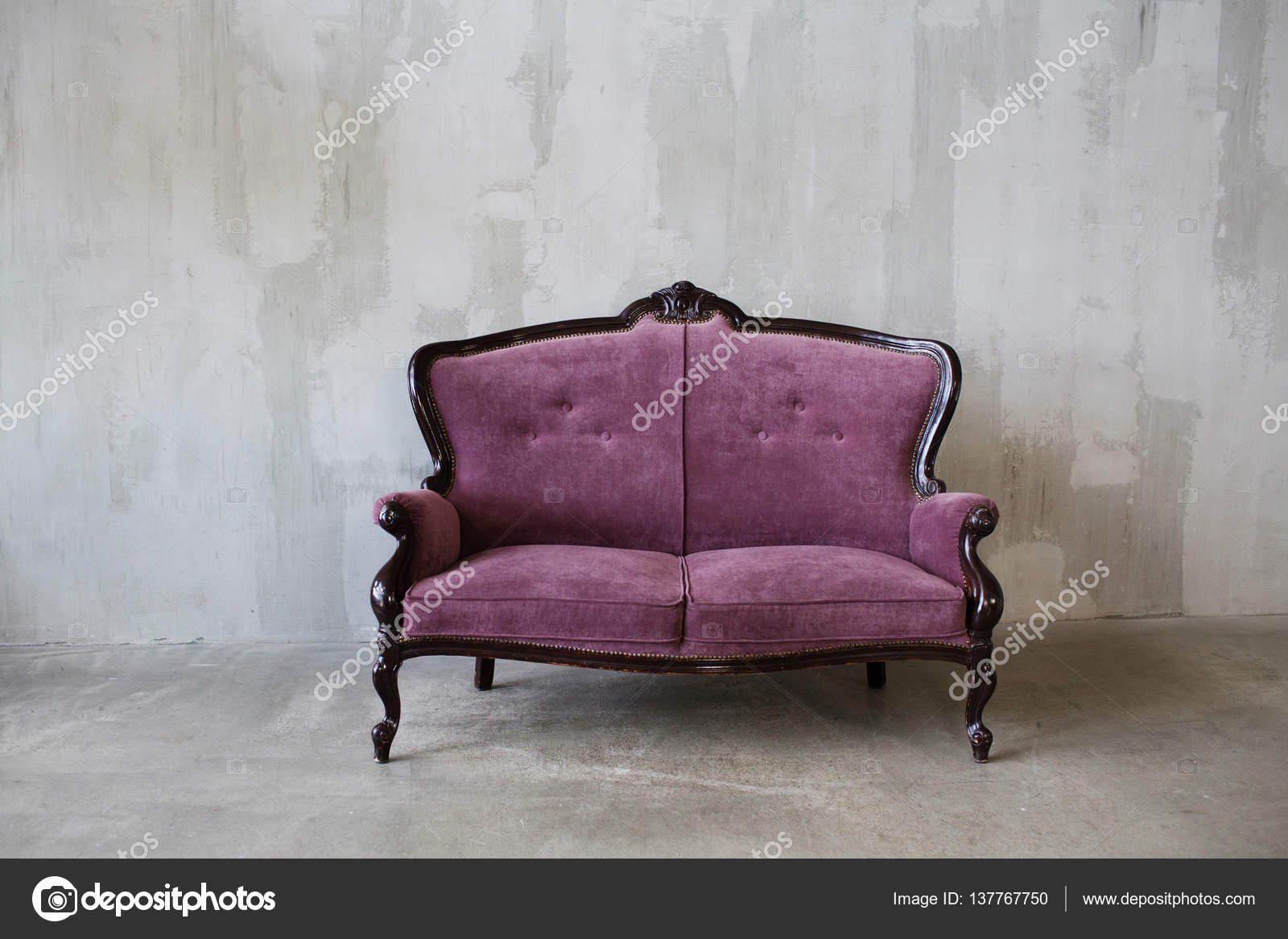 Vintage Couch Purple Vintage Sofa On A Gray Background Stock Photo
