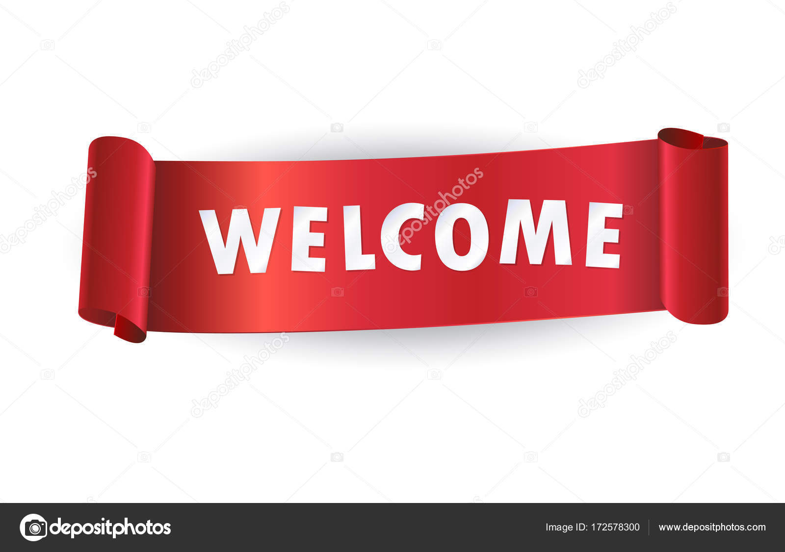 Welcome sign vector Welcome lettering on red ribbon Creative red