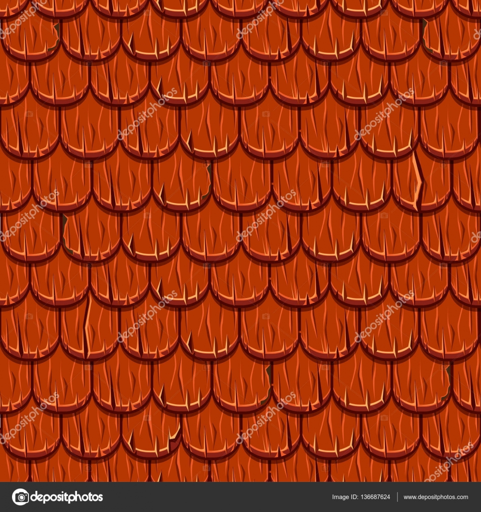 Cartoon Red Wooden Old Roofing Roof Tiles Seamless Stock - Rode Dakpannen