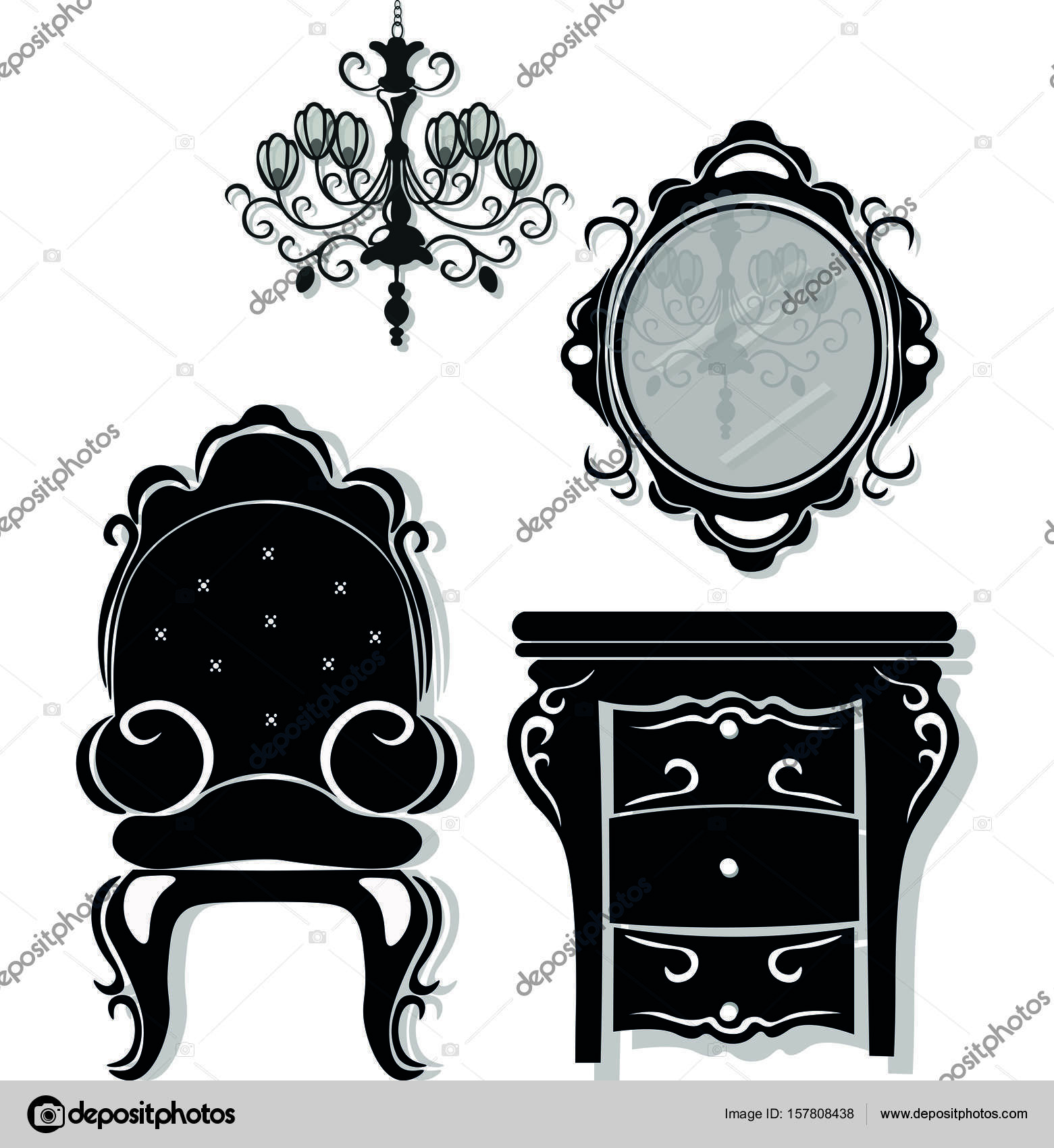 Meuble Style Victorien Meubles Noir Vintage Set Vector Rich Sculpté Ornements Collection