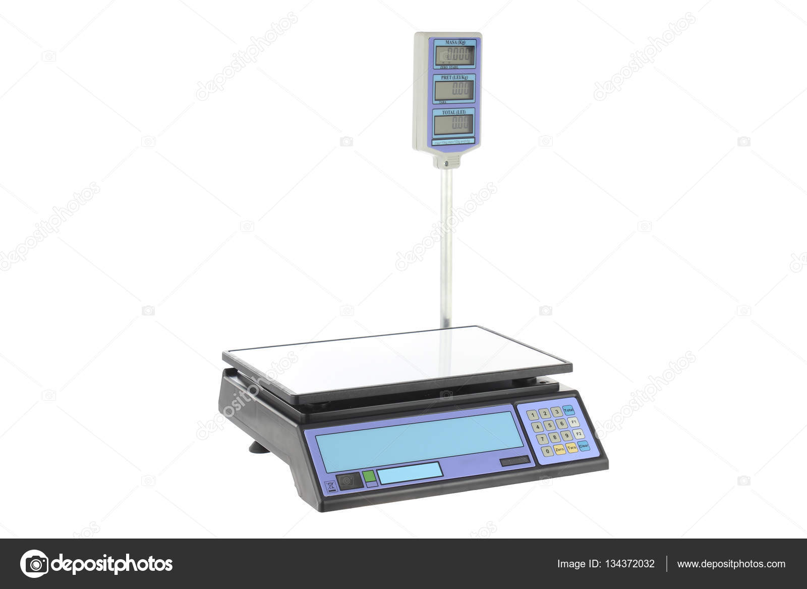 Background Masak Electronic Scales For Weighing Food On A White Background Stock