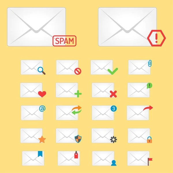 Email envelope cover icons communication and office correspondence - design paper for writing