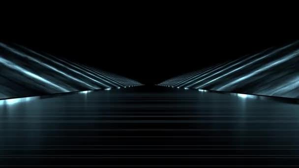 Loop Rendering Futuristic Road Dark Background White Beams \u2014 Stock