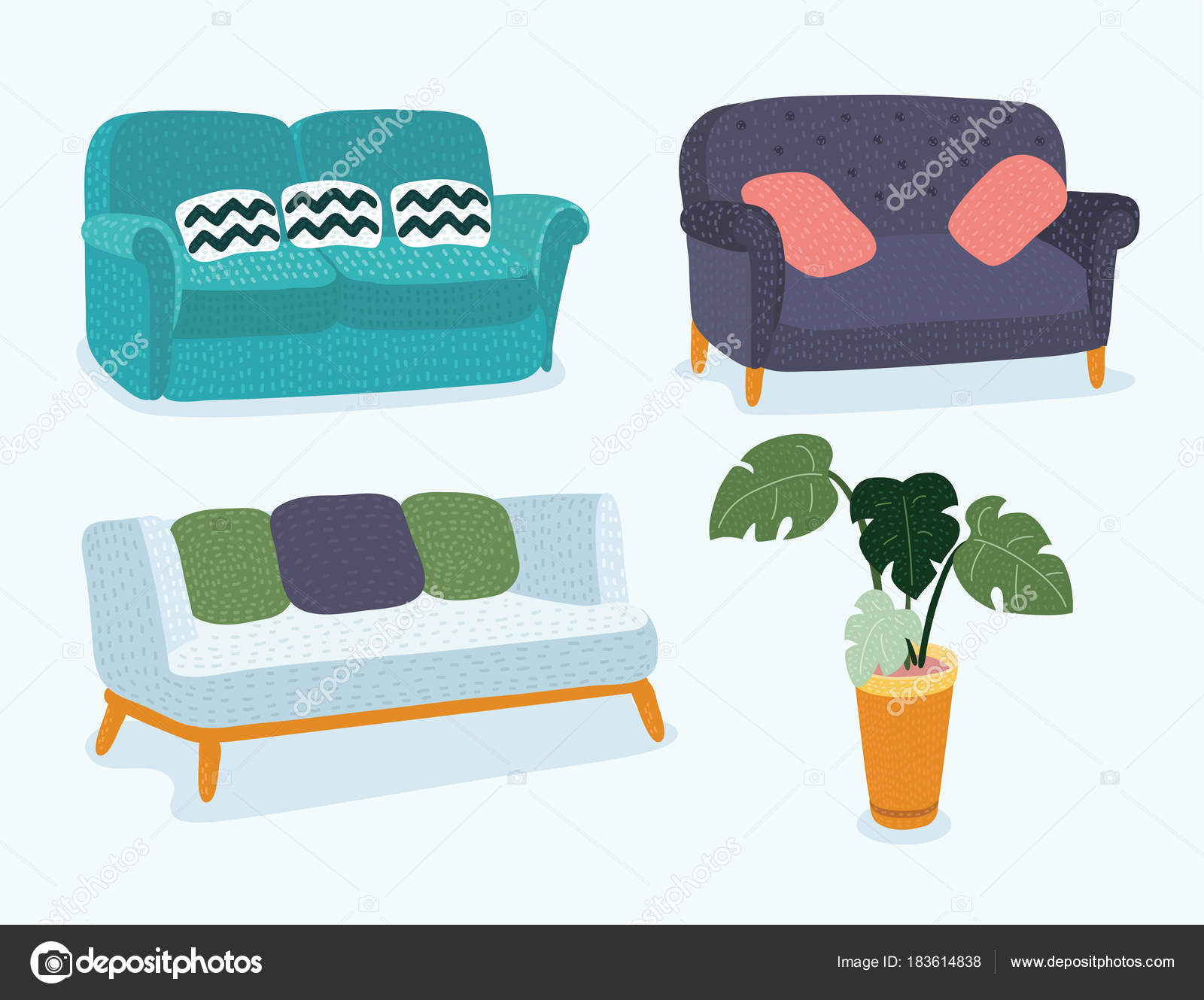 Sofa Set Vector Free Download Sofa Icon Set Vector Illustration Stock Vector Cosmaa 183614838