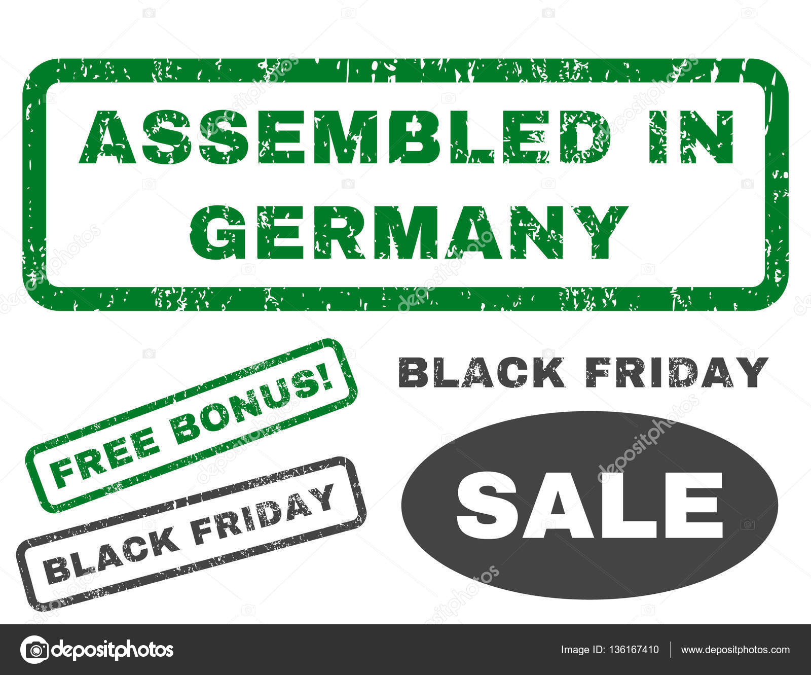 Black Friday In Germany Assembled In Germany Rubber Stamp Stock Vector Anastasyastocks