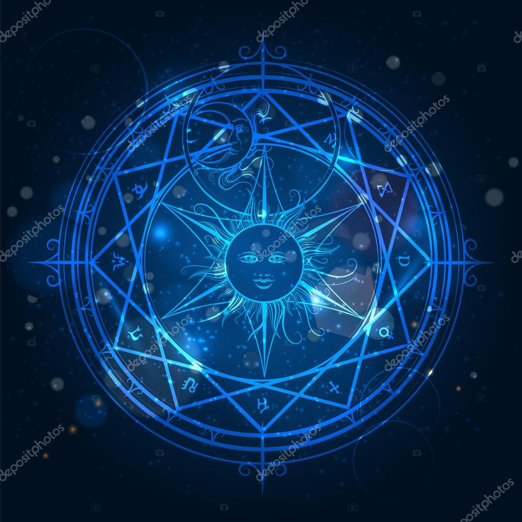 Doctor Symbol Hd Wallpaper Alchemy Magic Circle On Blue Background Stock Vector