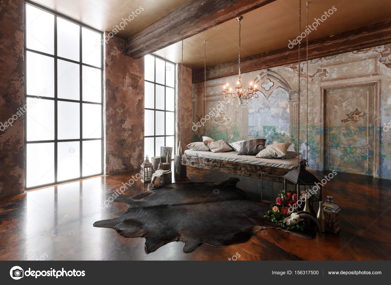 Hangend Bed Interieur Loft Met Hangende Bed In De Moderne Design Stockfoto