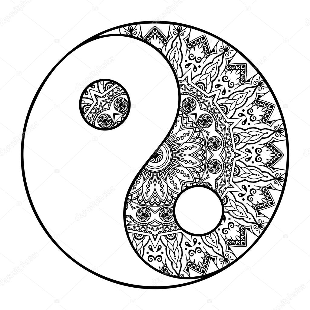 Coloring pages yin yang - Printable Coloring Pages Yin Yang A Circular Pattern In The Form Of A Mandala Yin Download