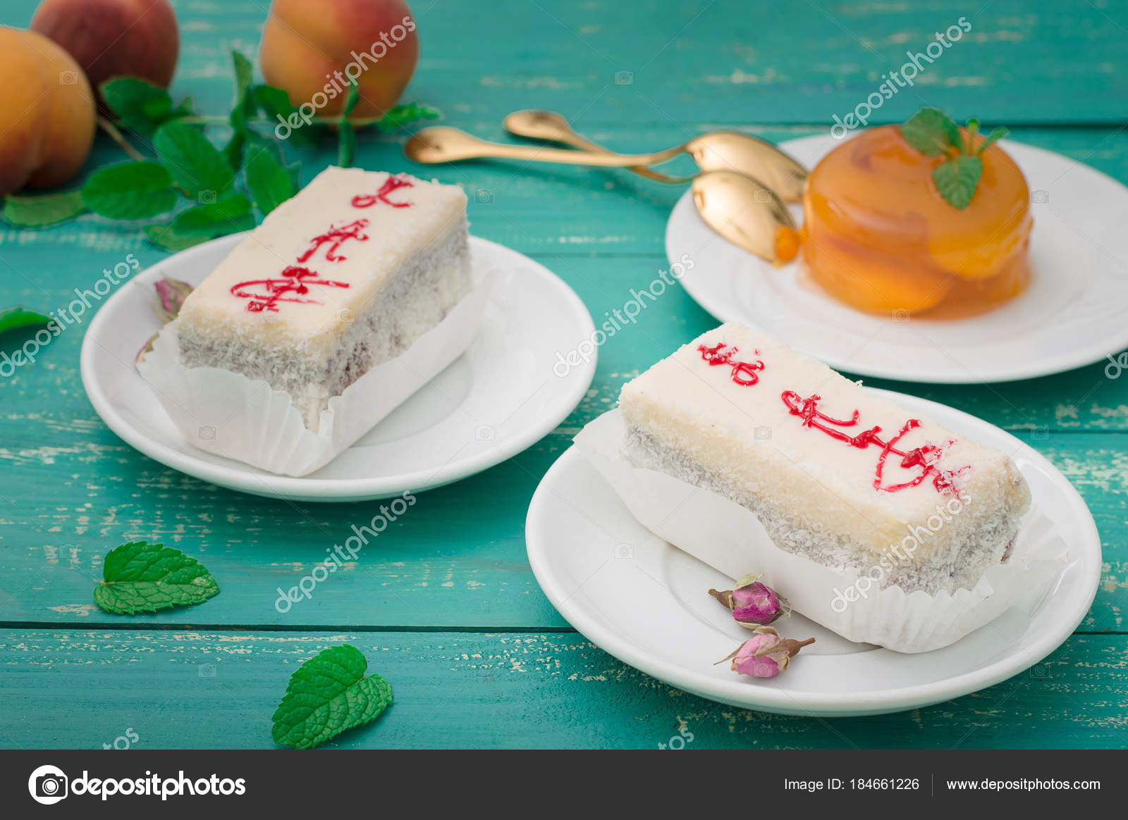 Kokoscreme Kuchen A Fresh Piece Of Coconut Cream Cake On A White Plate With A