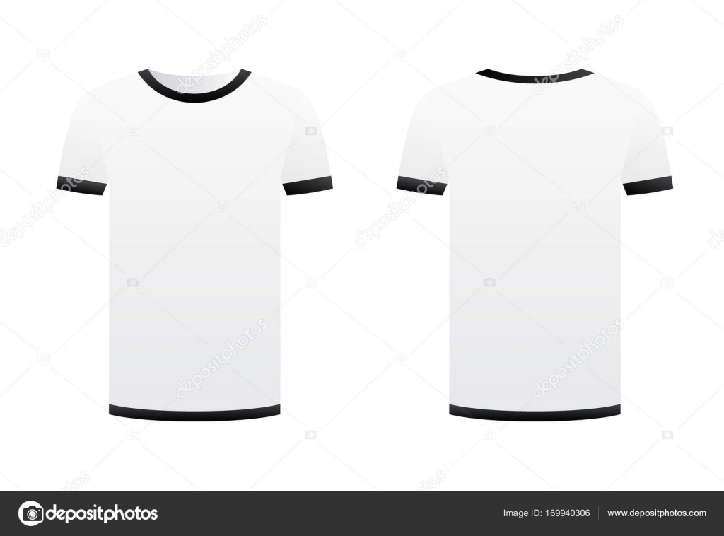 White t-shirt template black ribbons isolated on white background