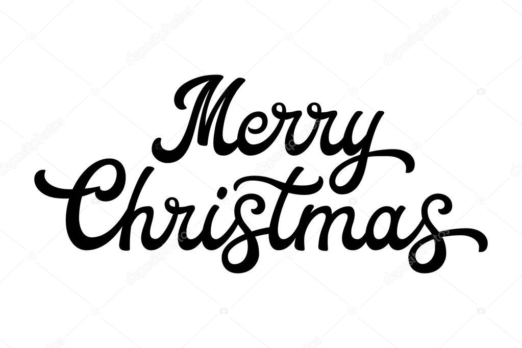 Merry Christmas brush lettering Black letters isolated on white - christmas cards black and white