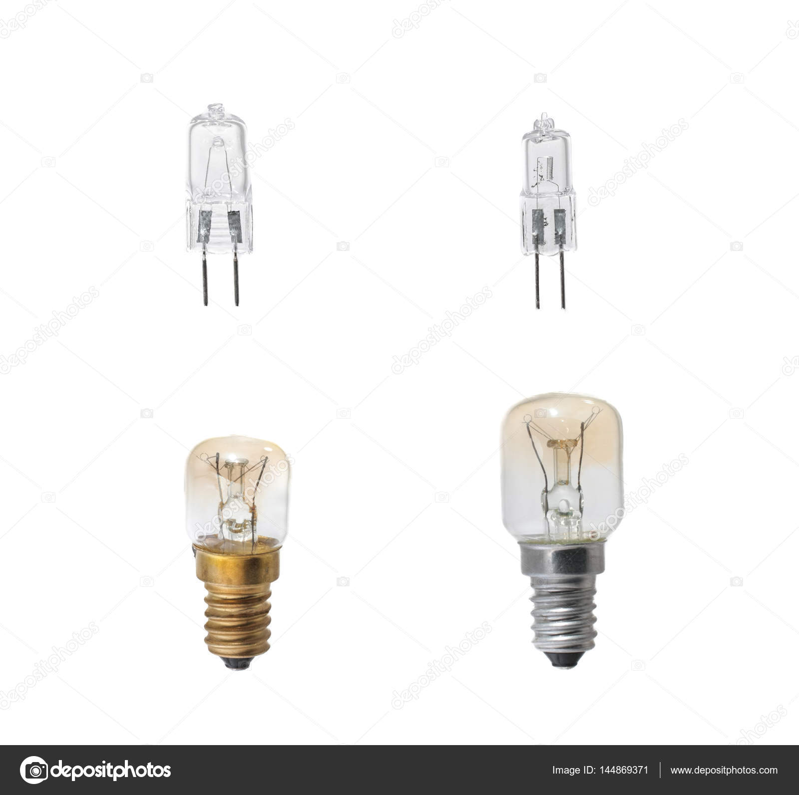 Halogen Glühbirne Set Of Halogen Bulbs On White Background Collection Of Different