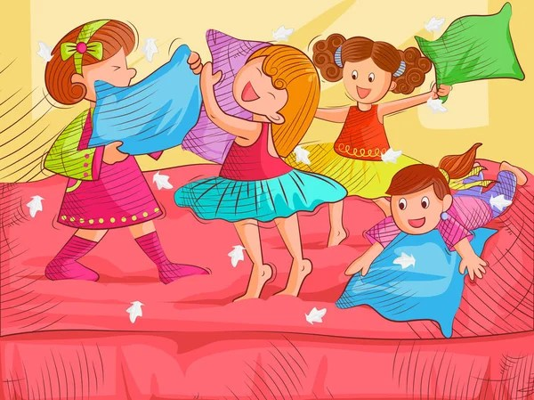 Kids Doing Pillow Fighting And Enjoying Summer Vacation