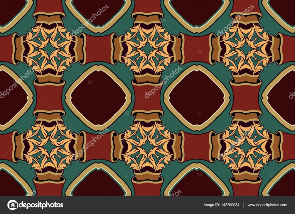Vintage geometric symmetric rounded pattern abstract retro texture