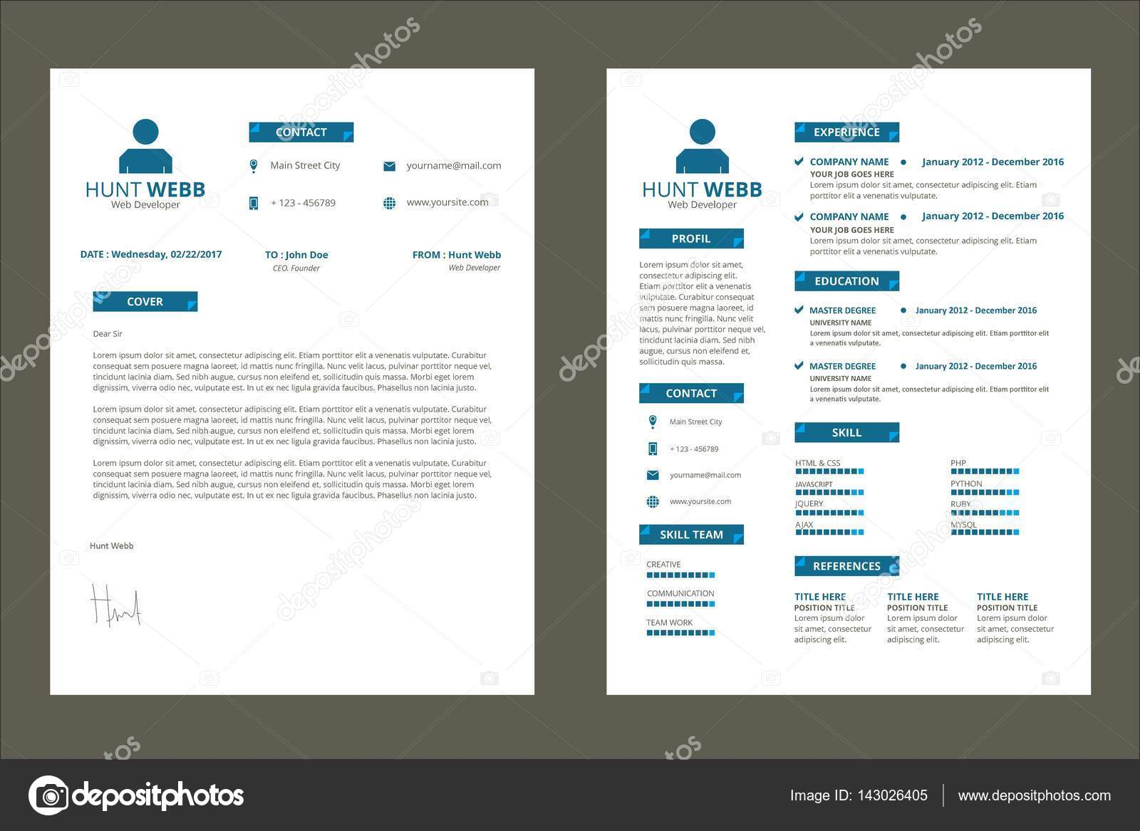 CV Resume, Curriculum Vitae Color Blue \u2014 Stock Vector © hendra
