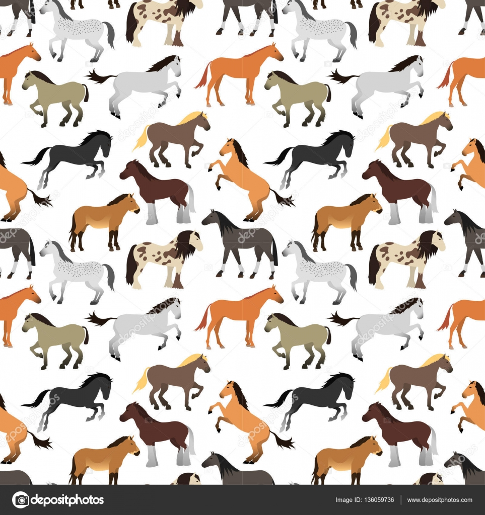 Cute Cartoon Horse Wallpaper Seamless Pattern With Horse In Flat Style Stock Vector