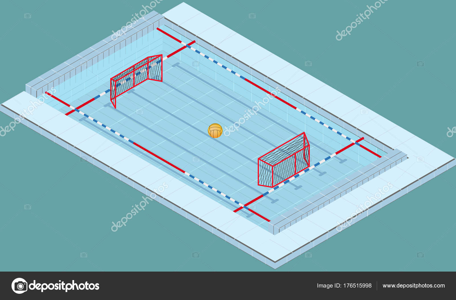 Piscina Waterpolo Isometric Image Of A Pool For Water Polo With Ball And
